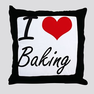 I Love Baking Artistic Design Throw Pillow