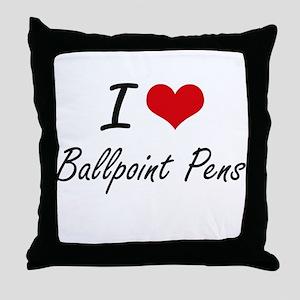 I Love Ballpoint Pens Artistic Design Throw Pillow