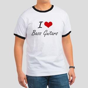 I Love Bass Guitars Artistic Design T-Shirt