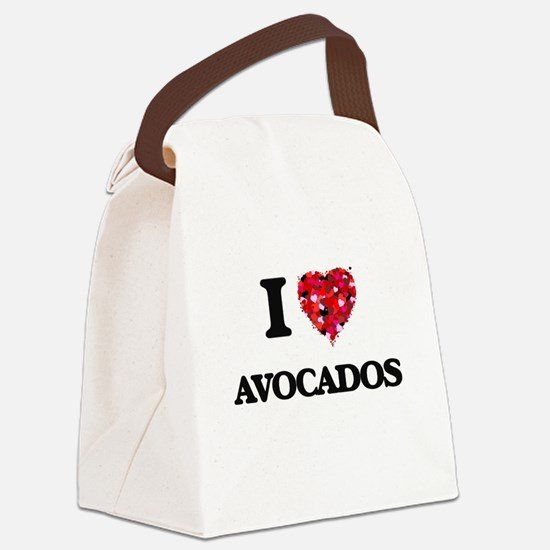 I Love Avocados food design Canvas Lunch Bag