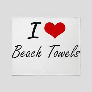 I Love Beach Towels Artistic Design Throw Blanket