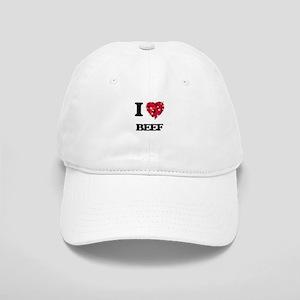 I Love Beef food design Cap