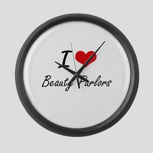 I Love Beauty Parlors Artistic De Large Wall Clock