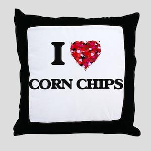 I Love Corn Chips food design Throw Pillow