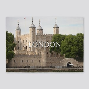 Tower of London, England (caption) 5'x7'Area Rug