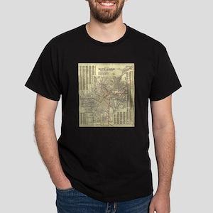 Los Angeles Old Map Dark T-Shirt