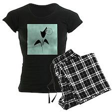 Cute Black Tulip Women's Dark Pajamas