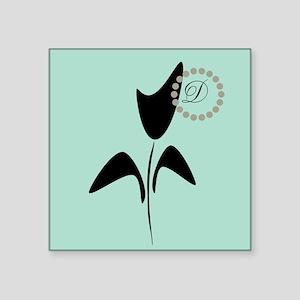 "Cute Black Tulip Square Sticker 3"" x 3"""