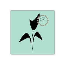 Cute Black Tulip Square Sticker 3