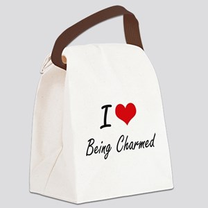 I love Being Charmed Artistic Des Canvas Lunch Bag