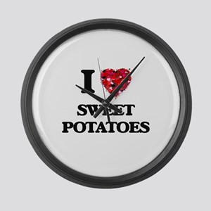 I Love Sweet Potatoes food design Large Wall Clock