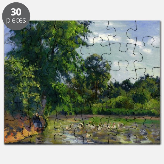 Camille Pissarro - Ducks on the Pond at Montfoucau