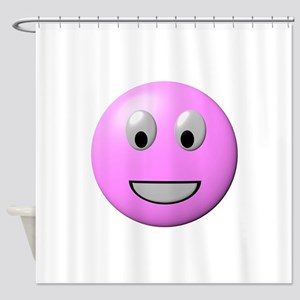Powder Pink Smiley Face Shower Curtain
