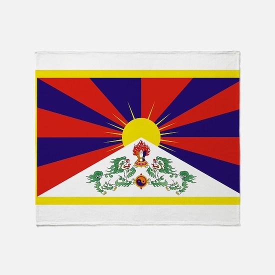 Tibetan Free Tibet Flag - Peu Rangze Throw Blanket