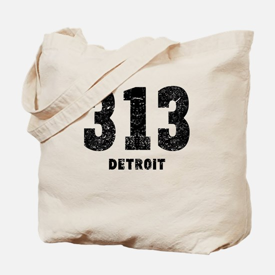 313 Detroit Distressed Tote Bag