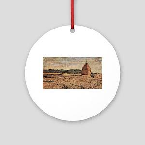 Giovanni Fattori - Der Heuhaufen Round Ornament