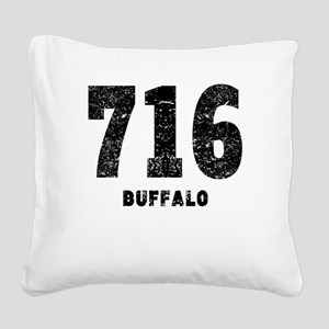 716 Buffalo Distressed Square Canvas Pillow