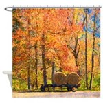 Autumn Fall Leaves Hay Wagon Shower Curtain