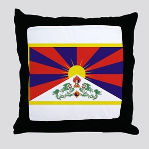 Tibetan Free Tibet Flag - Peu Rangzen Throw Pillow