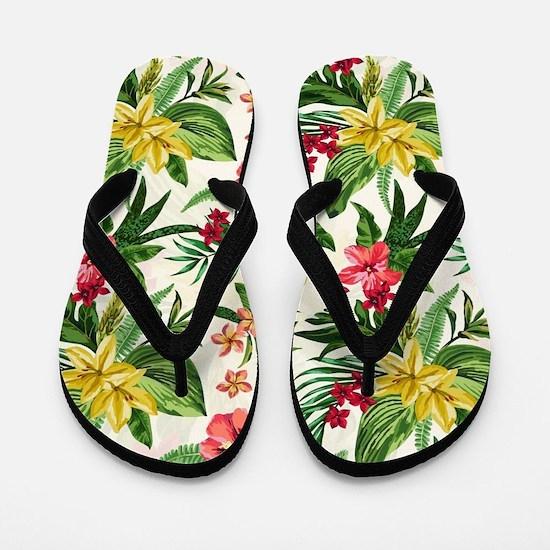Colorful Exotic Flowers Flip Flops