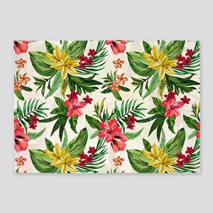 Colorful Exotic Flowers 5'x7'Area Rug