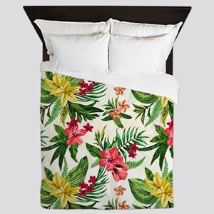 Colorful Exotic Flowers Queen Duvet