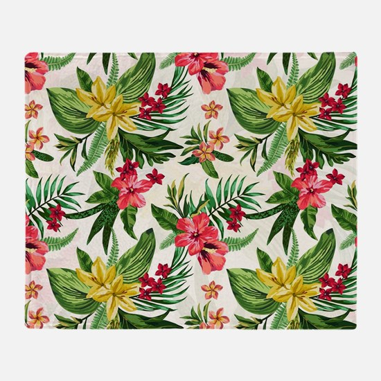 Colorful Exotic Flowers Throw Blanket