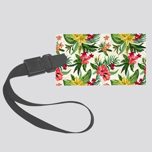 Colorful Exotic Flowers Large Luggage Tag