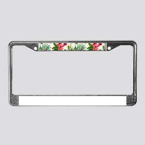 Colorful Exotic Flowers License Plate Frame