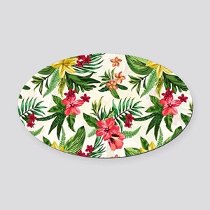 Colorful Exotic Flowers Oval Car Magnet