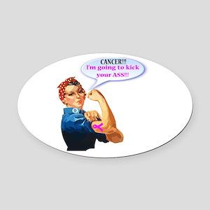 Rosie Fighting Cancer Design Oval Car Magnet