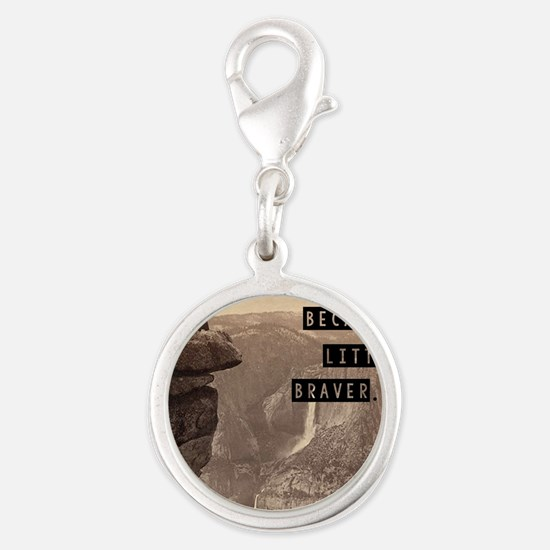 Be Brave Silver Round Charm