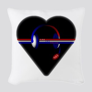 911 Dispatcher (Heart) Woven Throw Pillow