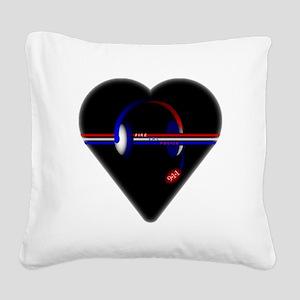 911 Dispatcher (Heart) Square Canvas Pillow