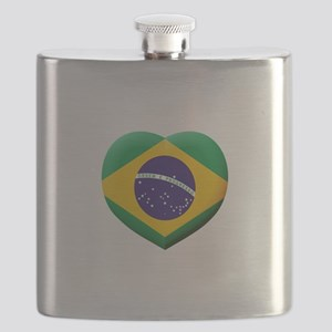 Brazilian Flag in 3D Heart Flask