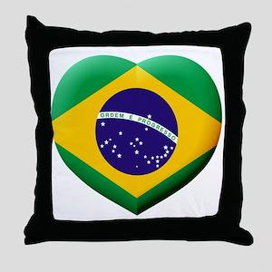 Brazilian Flag in 3D Heart Throw Pillow