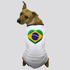 Brazilian Flag in 3D Heart Dog T-Shirt