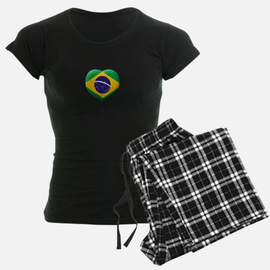 Brazilian Flag in 3D Heart Pajamas