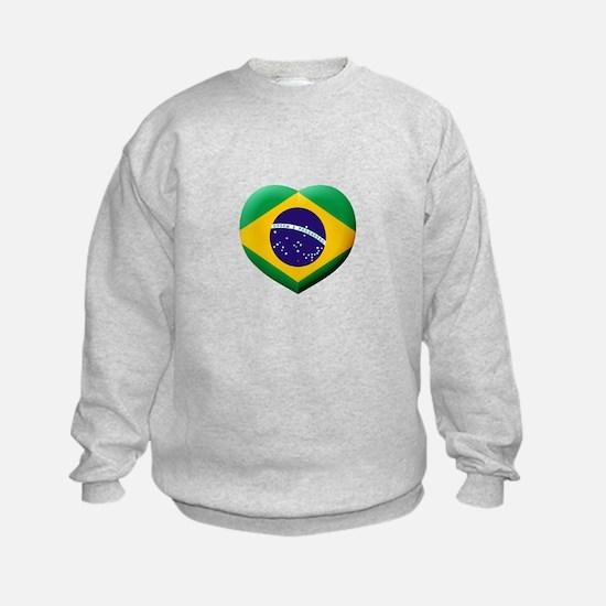 Brazilian Flag in 3D Heart Sweatshirt