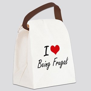 I Love Being Frugal Artistic Desi Canvas Lunch Bag