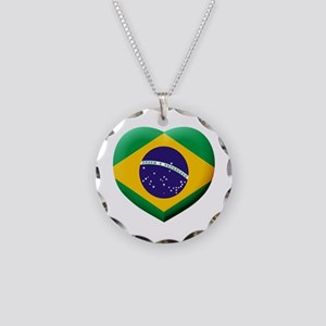 Brazilian Flag in 3D Heart Necklace Circle Charm