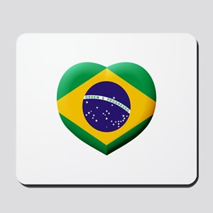Brazilian Flag in 3D Heart Mousepad