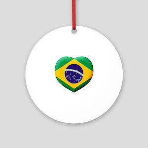 Brazilian Flag in 3D Heart Round Ornament