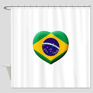 Brazilian Flag in 3D Heart Shower Curtain