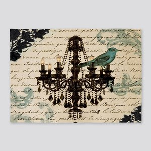 girly chandelier vintage paris 5'x7'Area Rug