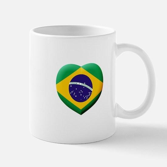 Brazilian Flag in 3D Heart Mugs