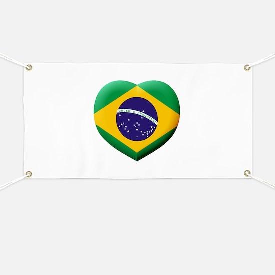 Brazilian Flag in 3D Heart Banner