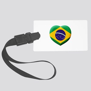 Brazilian Flag in 3D Heart Large Luggage Tag