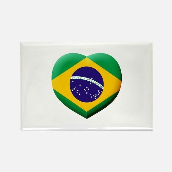 Brazilian Flag in 3D Heart Magnets