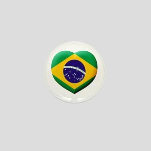 Brazilian Flag in 3D Heart Mini Button